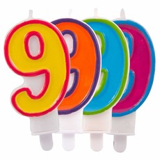 Kaars cijfer 9 in vrolijke kleuren