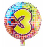 3 jaar Birthday Blocks folieballon - 43 cm