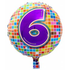 6 jaar Birthday Blocks folieballon - 43 cm