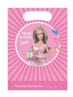Barbie pink uitdeelzakjes 6 stuks