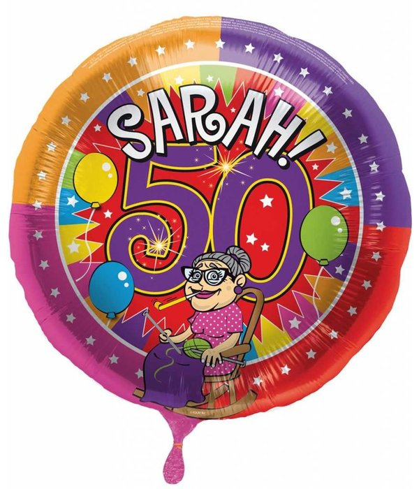 Sarah 50 jaar Knalfeest folieballon - 43cm