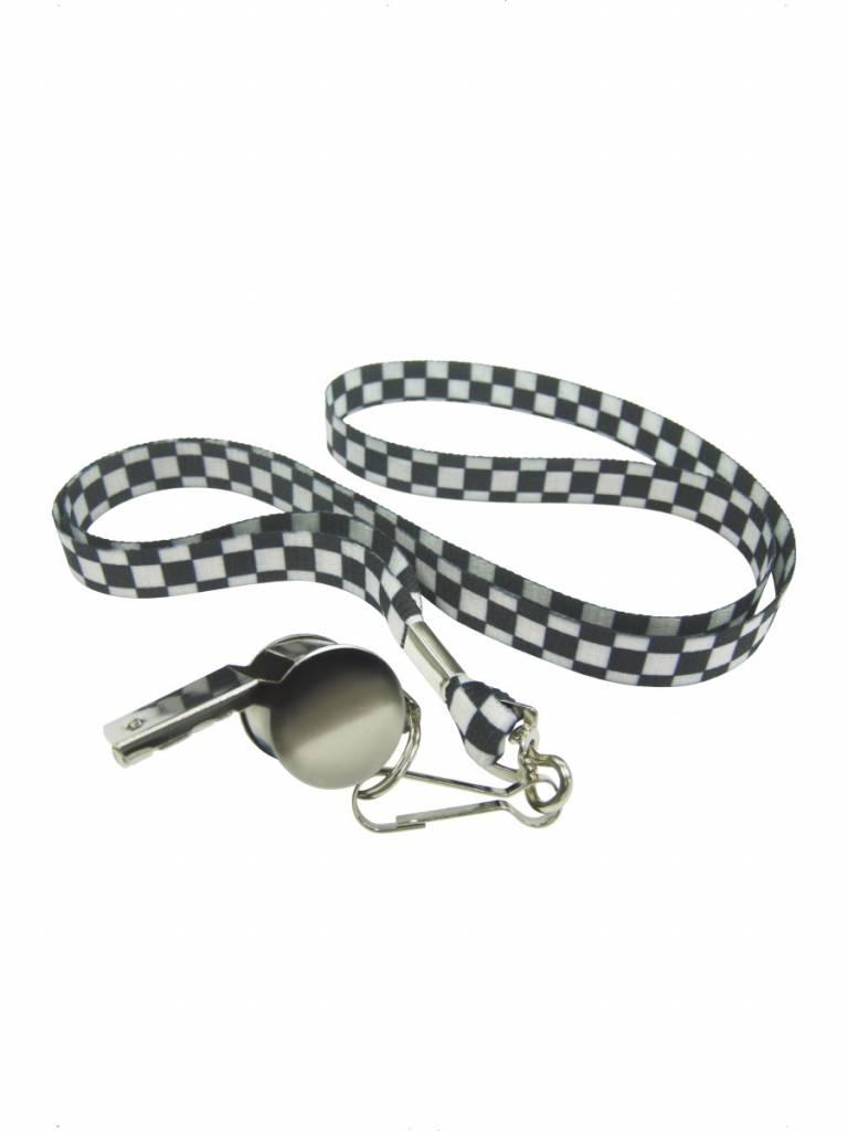 Fluit zilver met zwart/wit geblokte koord