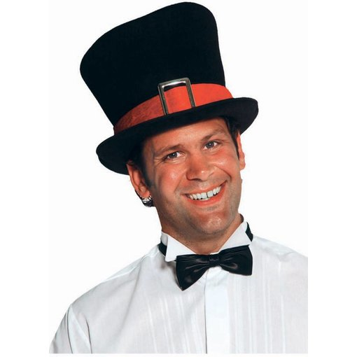 Hoge hoed met rode rand luxe