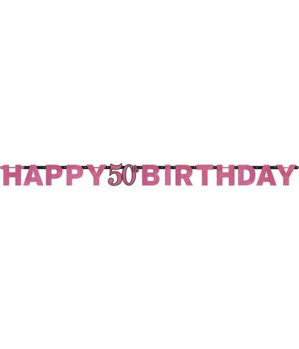 Letterslinger glitter Happy 50th Birtday pink