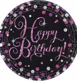8 borden Happy Birthday Sparkling pink 23cm
