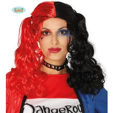 Halloween pruik rood/zwart vlechten