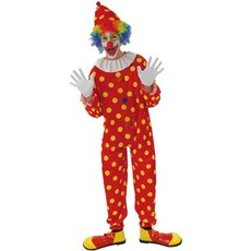 Clown kostuum rood met gele bollen