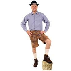 Tiroler trachten hemd blauw/wit