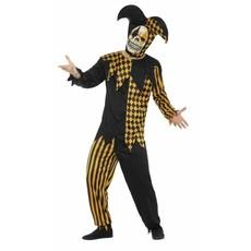 Duivelse Joker pak Halloween goud/zwart
