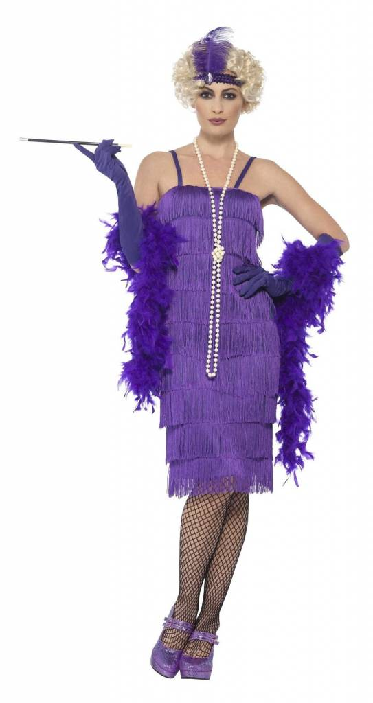 c1eb6d82cc4fb0 Flapper jurk paars lang - Feestbazaar.nl