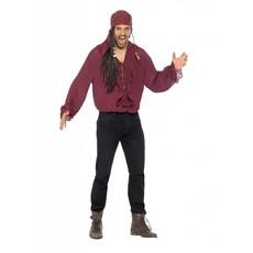 Piraten blouse donkerrood