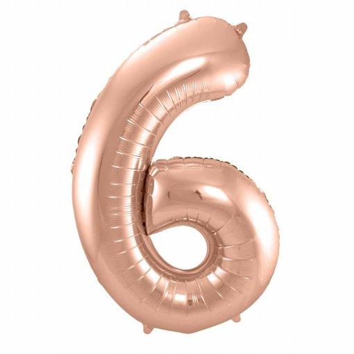 Rosé Goudkleurige Cijferballon cijfer 6 - 86cm