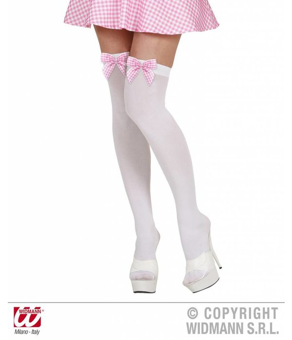 Hoge witte kousen met roze strik
