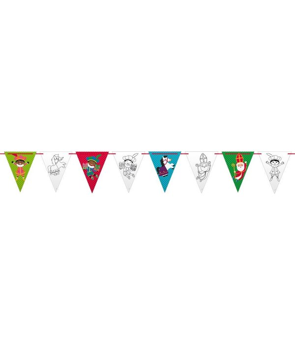 Kleurplaten Sinterklaas Vlaggetjes.Sinterklaas Kleurplaat Slinger 6 Meter Feestbazaar Nl