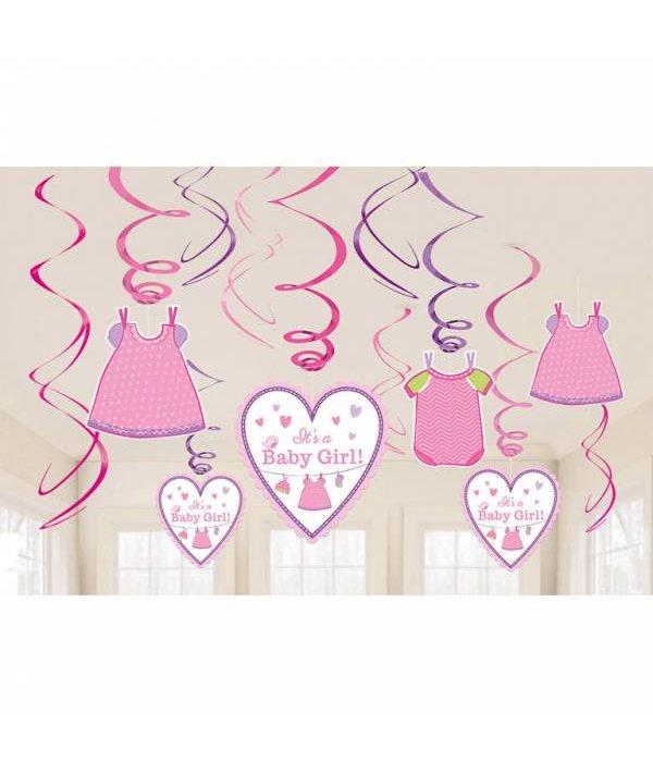 12 swirl decorations Baby Shower Girl