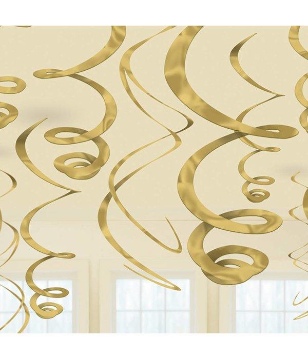 Hangdecoratie Swirls Goud - 12 Stuks
