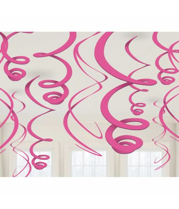 12 swirls decoraties roze