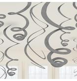 12 swirls decoraties zilver