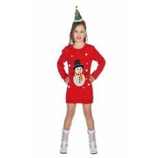Kerstjurkje meisje rood sneeuwpop