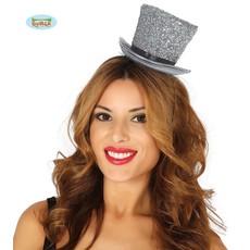 Hoge hoed glossy zilver