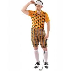Golfspeler kostuum oranje/zwart