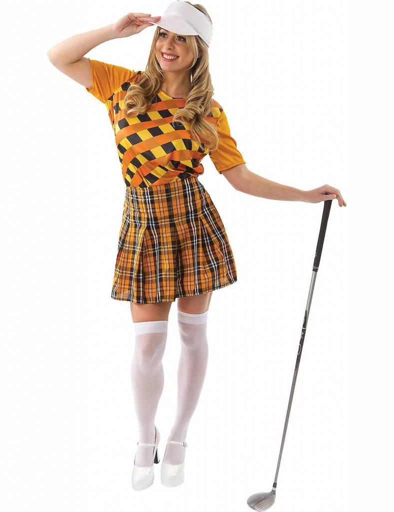 Golf kostuum dames carnaval oranje/zwart