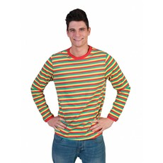 Gestreept Shirt rood/geel/groen