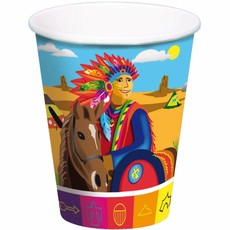 Indianen Party Bekers 250ml - 8 stuks