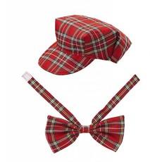 Rood Tartan hoedje met strikje
