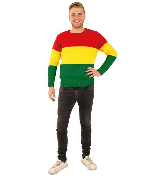 Gebreide trui rood/geel/groen gestreept unisex