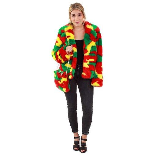 Bontjas camouflage rood/geel/groen dames