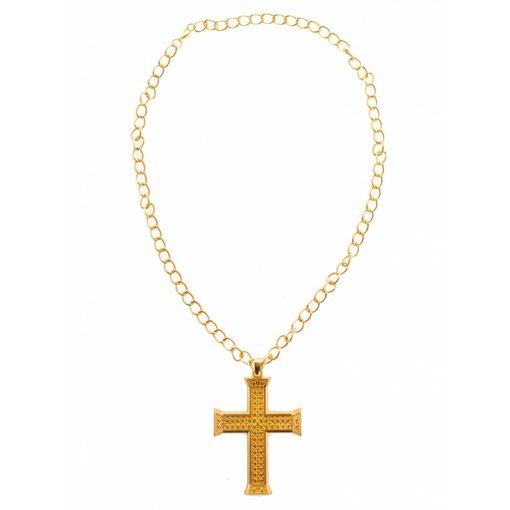 Halsketting met kruis goud