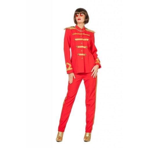 Sgt Pepper kostuum vrouw rood