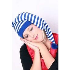 Slaapmuts lang blauw/wit