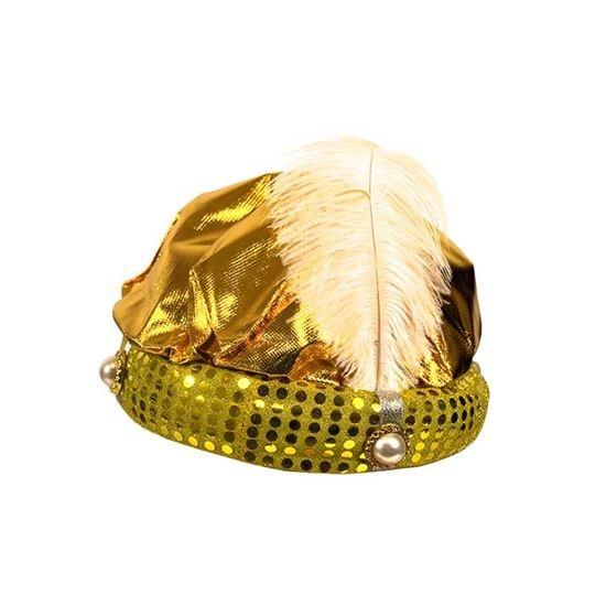 Hoed Sultan goud + pluim