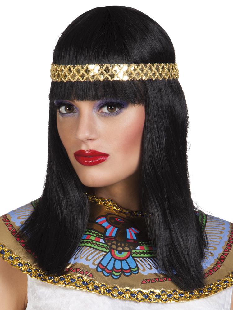 Cleopatra Pruik Met Hoofdband Zwart