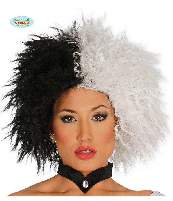 Pruik Cruella Zwart/Wit