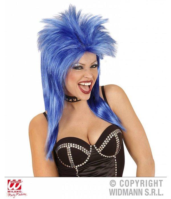 Pruik Rockster blauw