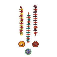 Set 3 Decoratiespiralen Indianen dubbelzijdig (60 cm)