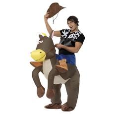 Stap in kostuum opblaasbaar paard cowboy