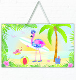 Hawaii Deurbord Flamingo 3D