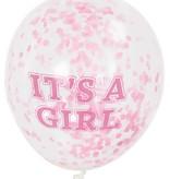 Confetti ballon It's A Girl 30cm (6st)