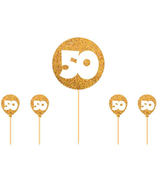 Uitgelezene 50 jaar taartdecoratie gouden versiering - Feestbazaar.nl NS-94