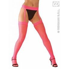 Panty mazen neon roze met kant en jarretels