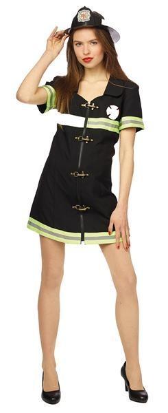 Kostuum brandweer vrouw zwart