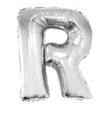 Folieballon Zilver Letter 'R' groot
