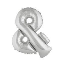 Folieballon Zilver &-teken - 102cm