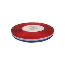 Medaille lint rood/wit/blauw 10 mm. per 25 meter op rol