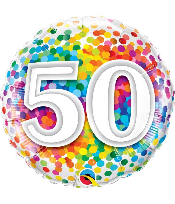 Folieballon Regenboog Confetti 50 jaar - 45cm