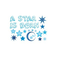 Raamsticker geboorte a star is born blauw jongens